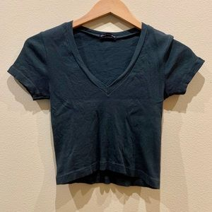 Brandy Melville Ribbed V-neck Crop Top
